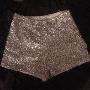 Silver Sequin/Glitter High Waisted Shorts